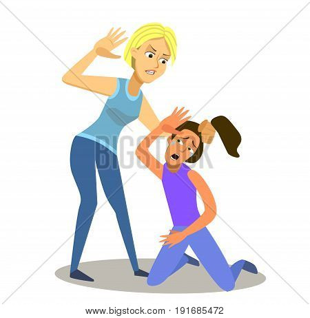 Illustration Featuring Two Girls Fighting. Vector illustration in a flat style.