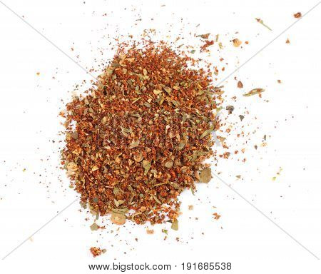 Mixed spices isolated on white background. Garlic fennel carrots basil celery, parsley, marjoram, onion.