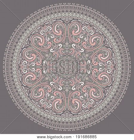 Vector Hand Drawn Round Ornate Rosette. Swirls and whorls background for your design.