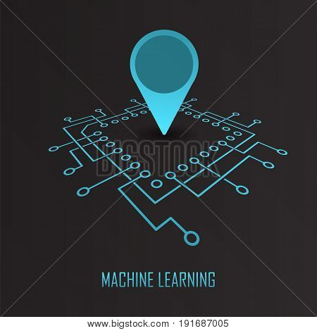Main integrated circuit chip with geo location mark modern machine learning concept. Artificial intelligence idea vector illustration