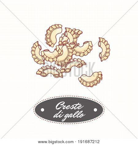 Hand drawn pasta creste di gallo isolated on white. Element for restaurant or food package design. Vector illustration