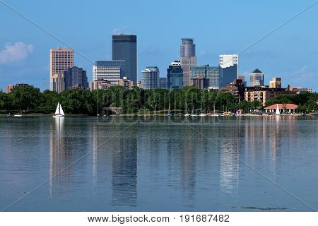 Minneapolis Skyline Reflecting in a Calm Lake Calhoun