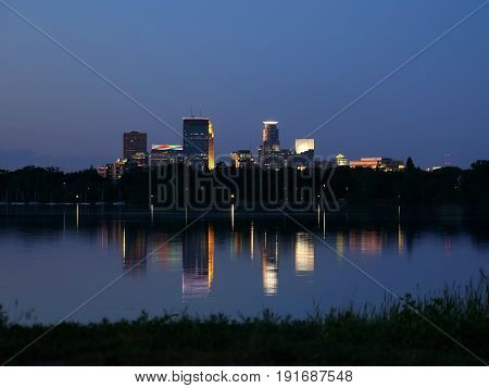Minneapolis Skyline Reflecting in Lake Calhoun at Night