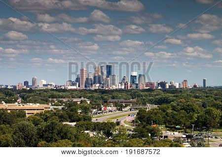 Minneapolis Skyline Over Golden Valley From Plymouth, Minnesota