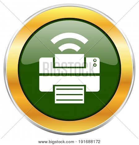 Printer green glossy round icon with golden chrome metallic border isolated on white background for web and mobile apps designers.