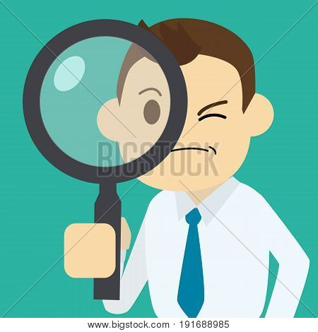 Businessman finding job with magnifier vector illustration