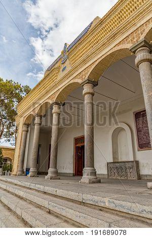 YAZD, IRAN - MAY 5, 2015: Facade of the Zoroastrian fire temple Atash Behram in old city.