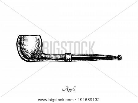 Vector hand drawn illustration of vintage apple shape pipe. Apple. isolated on white background.