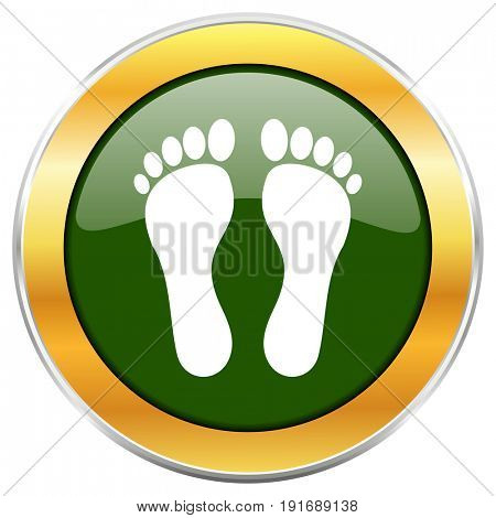 Foot green glossy round icon with golden chrome metallic border isolated on white background for web and mobile apps designers.