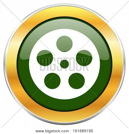 Film green glossy round icon with golden chrome metallic border isolated on white background for web and mobile apps designers.