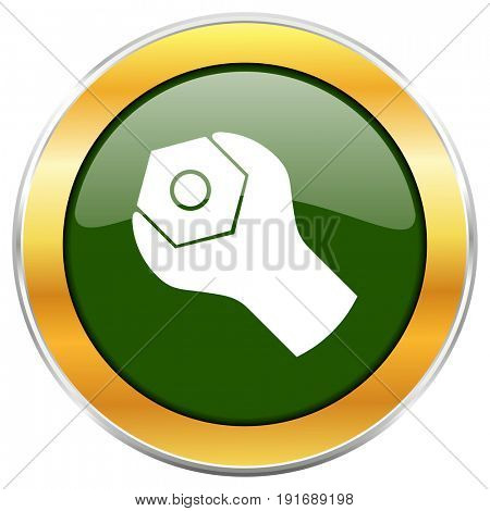 Tools green glossy round icon with golden chrome metallic border isolated on white background for web and mobile apps designers.