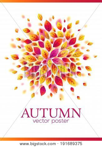 Red autumn leaves circle vector poster template with white background