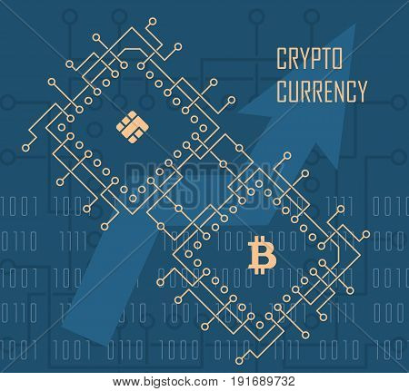 Crypto Currency modern cyber financial background. Business cyberspace commerce vector illustration.