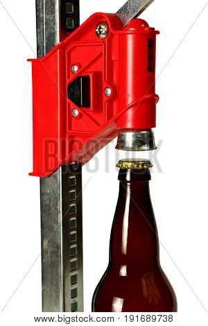 Bottle Cap Press With Bottle For Homebrew Beer, Close Up