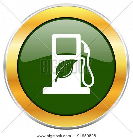 Biofuel green glossy round icon with golden chrome metallic border isolated on white background for web and mobile apps designers.