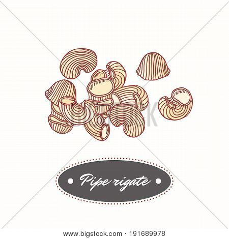 Hand drawn pasta pipe rigate isolated on white. Element for restaurant or food package design. Vector illustration