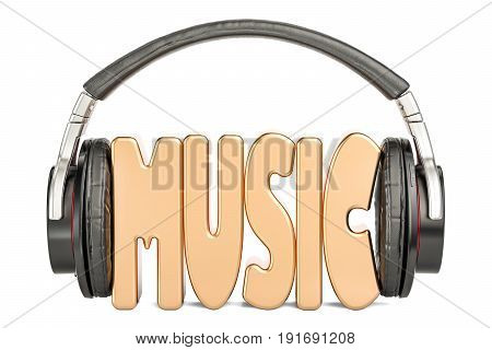 Headphones with music word musical concept. 3D rendering isolated on white background