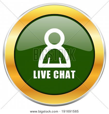 Live chat green glossy round icon with golden chrome metallic border isolated on white background for web and mobile apps designers.