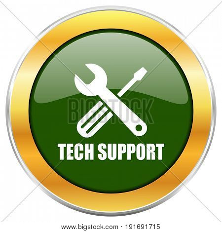 Technical support green glossy round icon with golden chrome metallic border isolated on white background for web and mobile apps designers.