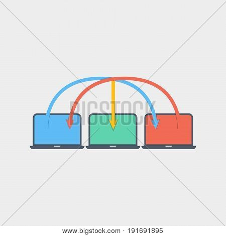 Laptop network icon flat stock vector illustration