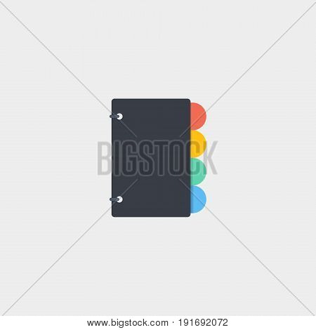 The notebook icon flat stock vector illustration