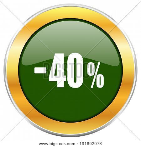 40 percent sale retail green glossy round icon with golden chrome metallic border isolated on white background for web and mobile apps designers.