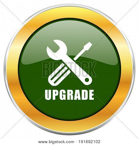 Upgrade green glossy round icon with golden chrome metallic border isolated on white background for web and mobile apps designers.