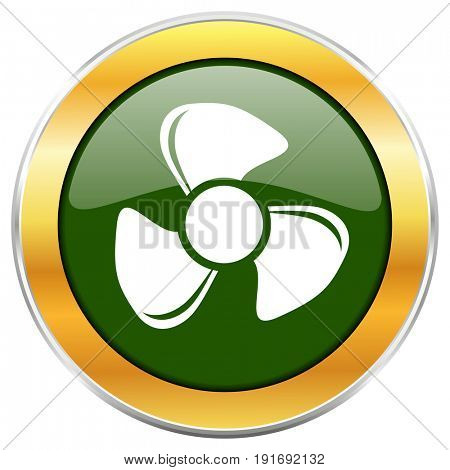 Fan green glossy round icon with golden chrome metallic border isolated on white background for web and mobile apps designers.