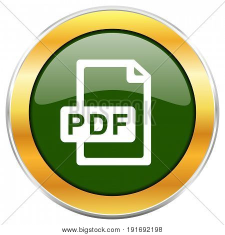 Pdf file green glossy round icon with golden chrome metallic border isolated on white background for web and mobile apps designers.