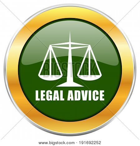 Legal advice green glossy round icon with golden chrome metallic border isolated on white background for web and mobile apps designers.