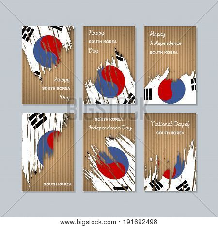 South Korea Patriotic Cards For National Day. Expressive Brush Stroke In National Flag Colors On Kra