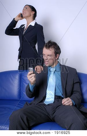 Young Couple On Phone