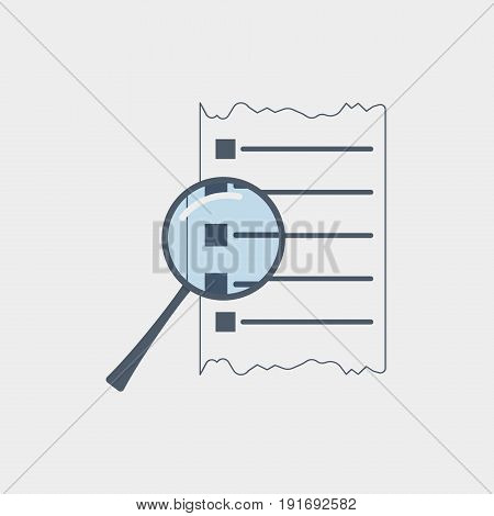 Viewing a document icon flat stock vector illustration