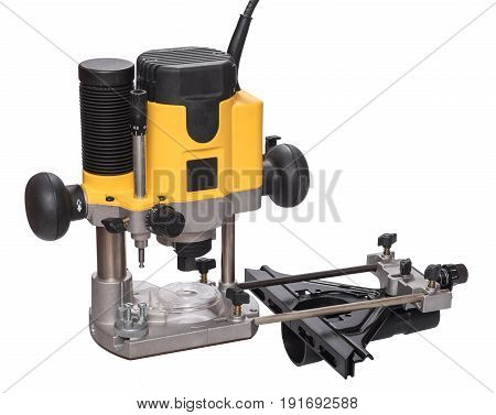 Yellow plunge router with fine adjustment, isolated on white background.
