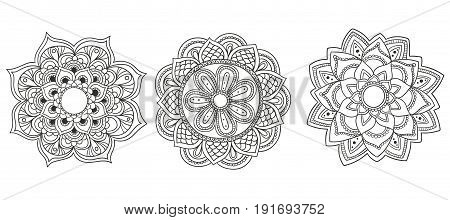 Save Download Preview Coloring Book Page with Mandala Outline. Line mandala isolated on white background.