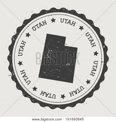 Utah Vector Sticker. Hipster Round Rubber Stamp With Us State Map. Vintage Passport Stamp With Circu
