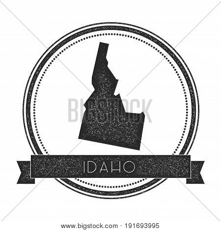 Idaho Vector Map Stamp. Retro Distressed Insignia With Us State Map. Hipster Round Rubber Stamp With