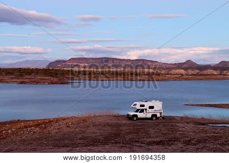 Camper Parked on Lake Pleasant Shoreline in Peoria, Arizona