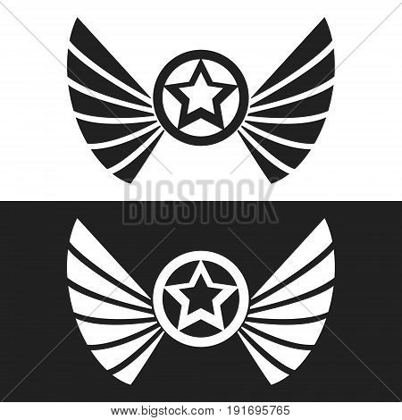 Star ring and wings logo template. Vector illustartion.
