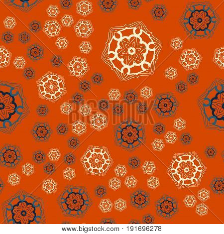 Warping paper Print seamless tile on orange background.