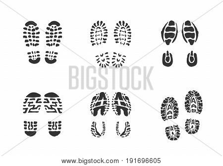 Foot print icon. Hogh quality silhuette sign of human traces for web deasign