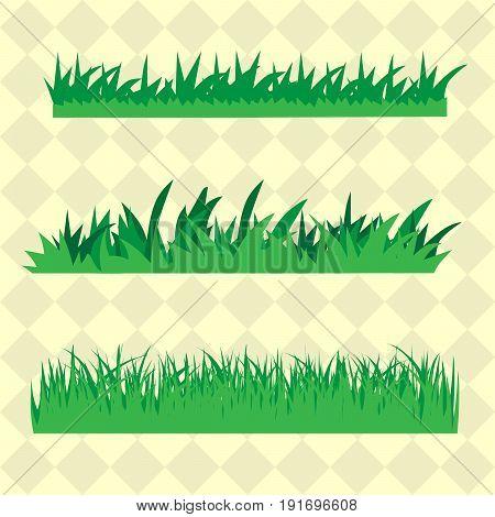 Green Grass Borders Set, Vector Illustration eps 10