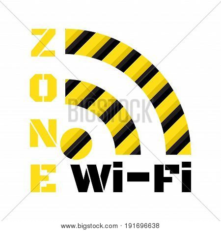 Vector icon wi-fi from the black and yellow stripes and inscriptions zone wi-fi