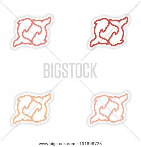 Set paper stickers on white background pair of whales