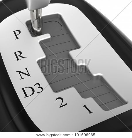 Close-up of automatic gearshift on white background (3D rendering)