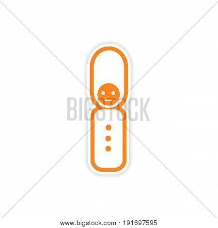 paper sticker British officer on white background
