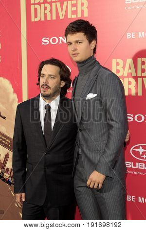 LOS ANGELES - JUN 14:  Edgar Wright, Ansel Elgort at the