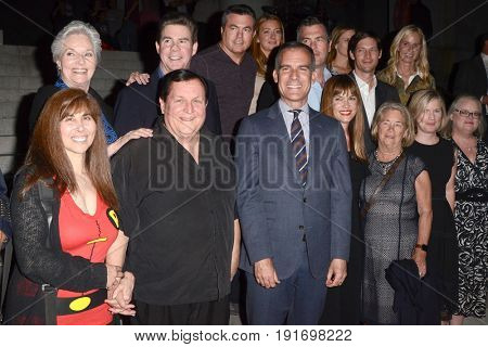 LOS ANGELES - JUN 15:  R Garman, Lee Meriwether, Burt Ward, Eric Garcetti, George Barris and Adam West families at the Ceremony to honor Adam West at LA City Hall on June 15, 2017 in Los Angeles, CA