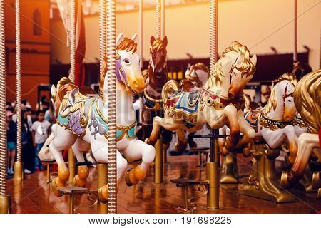 Moscow, Russia- June 12, 2017: Carousel Merry-go-round horse in the red square
