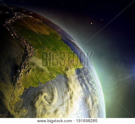 South America From Space In Sunrise